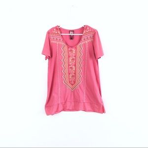 SOLD JWLA Johnny Was Pink Embroidered Cotton Top